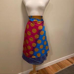 NWT Sari Silk Reversible Wrap Skirt - Size 22-26